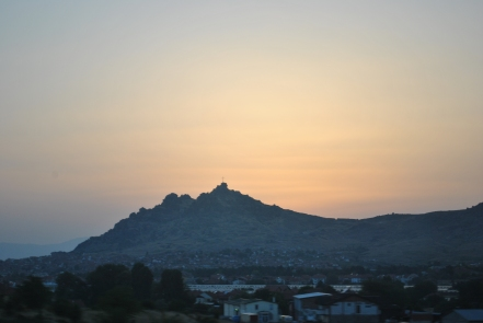 Sunset over the mountains of Prilep, enroute to Bitola