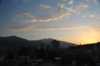 Sunset in Bitola, the Pelister mountain in the background