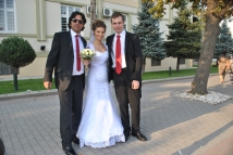 Me with the newlyweds outside the city hall