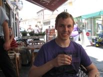 Enjoying some rakija in Bitola