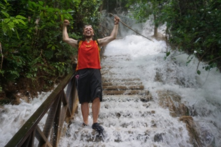 Happy to have conquered the trail, and now having a blast walking down the waterfall stairs