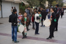 Drum-beating outside Shah Cheragh to mourn the death of prophet Muhammed