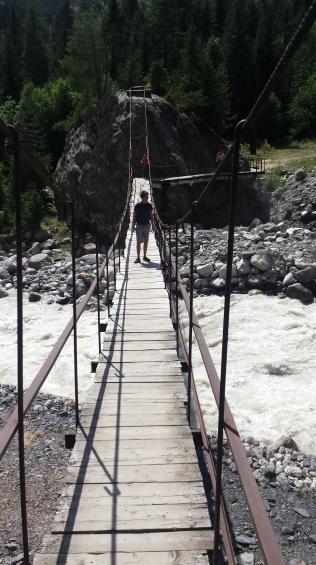 Start of the glacier trail, crossing the bridge across the Mestiachala river