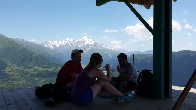 Resting with some fellow hikers in the shelter