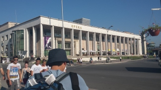 Arriving at the central square in Tirana